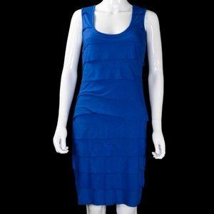 CALVIN KLEIN Blue Ruffle Bandage Knit Dress 6